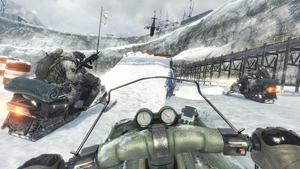 Black Ice infiltration on a snowmobile