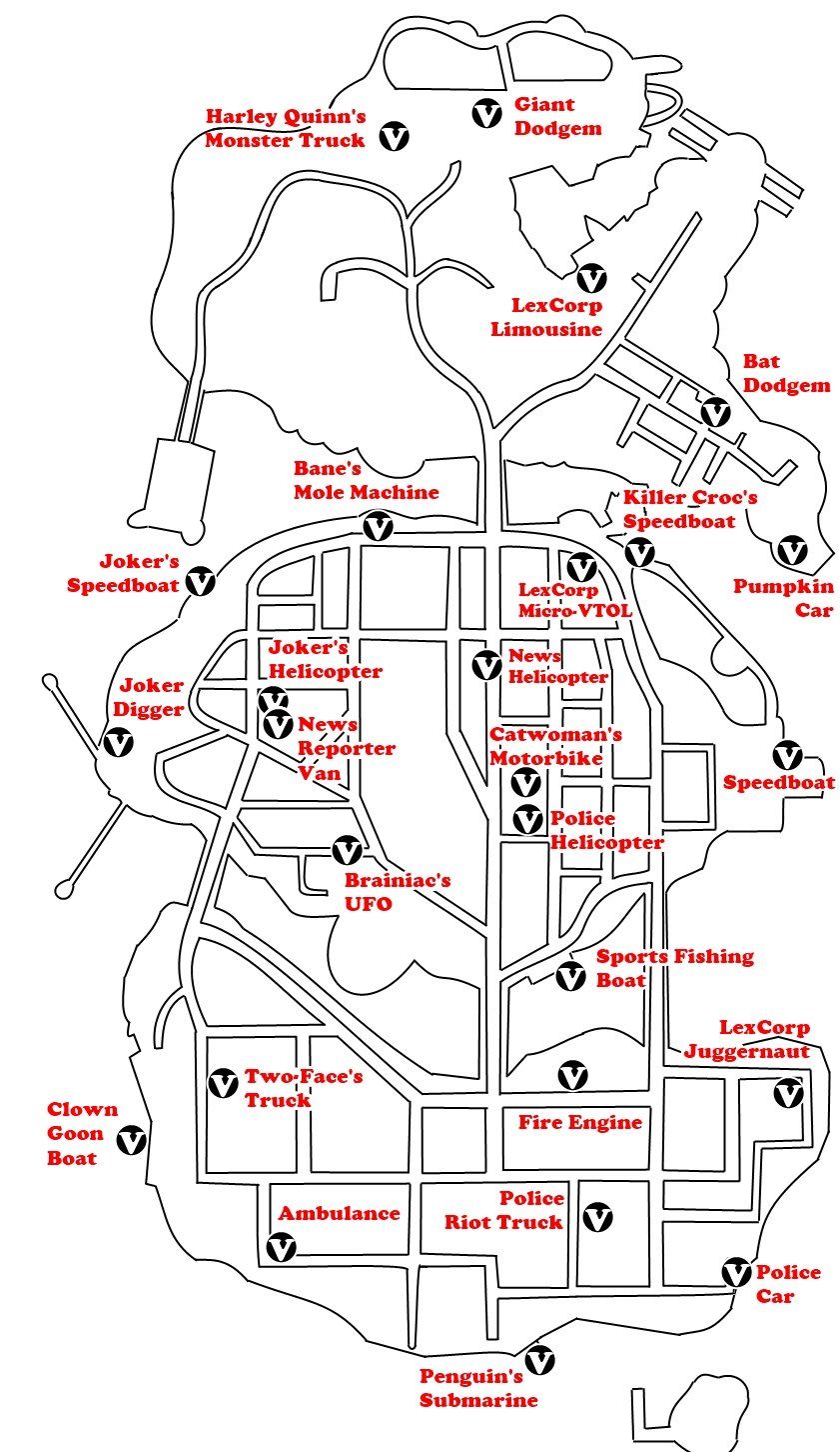 Locations for all Vehicles in Gotham City.