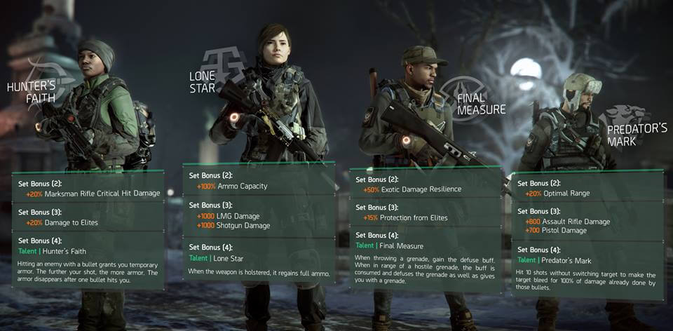 The Division Update 1.2 Gear Set screen