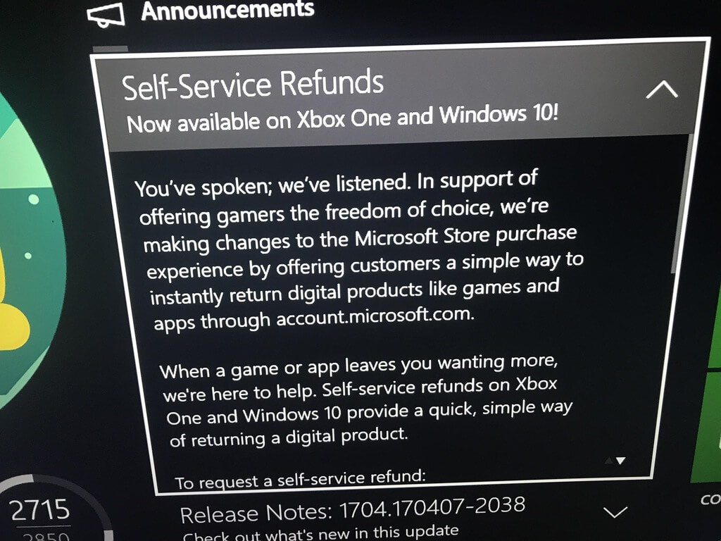 Self service refunds are coming to xbox ccuart Choice Image