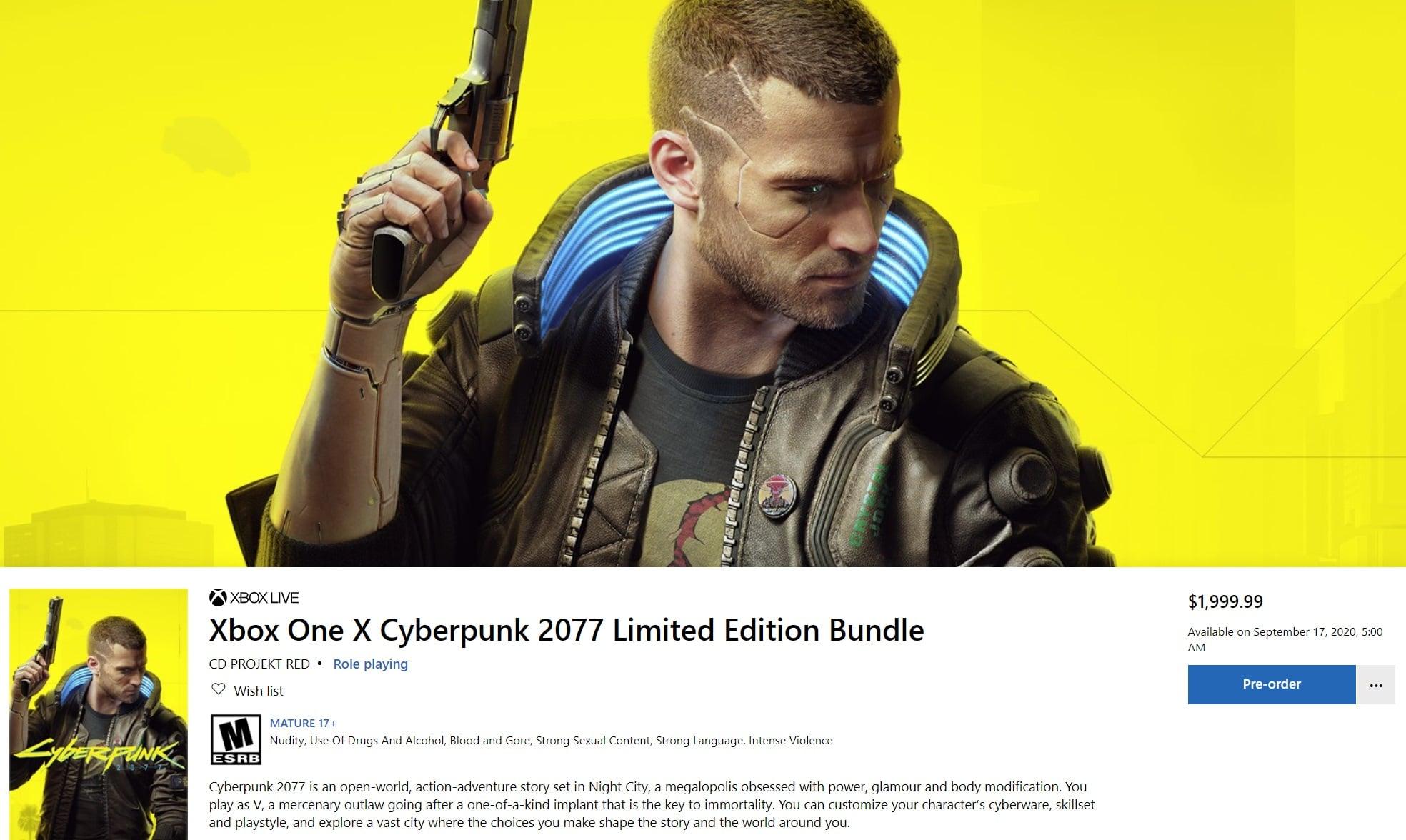 Xbox One X Cyberpunk 2077 bundle price